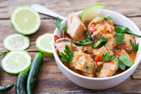 Red Thai tuna curry with green chili pepper Stock Photo