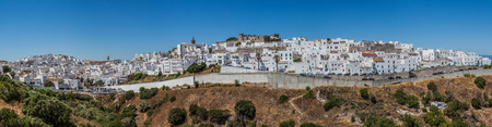 panoramic view of a spanish white village on cadiz