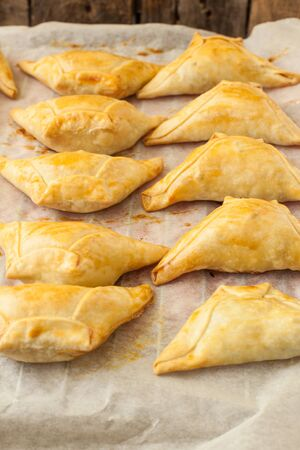 traditional hindu pastry baked filled with vegetables