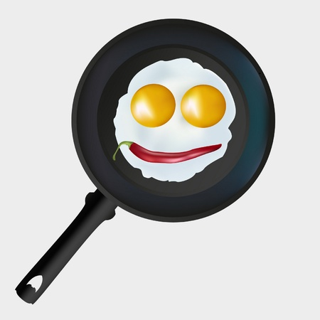 eggs in a frying pan on a gray background Stock Vector - 10172630