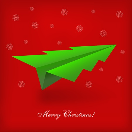 vector Concept of the Christmas tree and origami airplane Vector