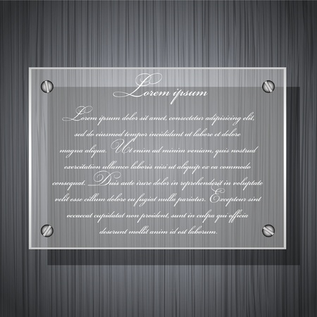 vector glass on a metal plate for your design Vector