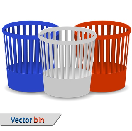 wastepaper basket: Set of bin for your design. Vector illustration Illustration