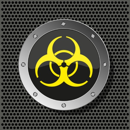 atomic symbol: biohazard circle icon on metal plate for your design.Vector illustration Illustration