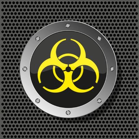 bombe atomique: ic�ne du cercle Biohazard sur une plaque de m�tal pour votre illustration design.Vector