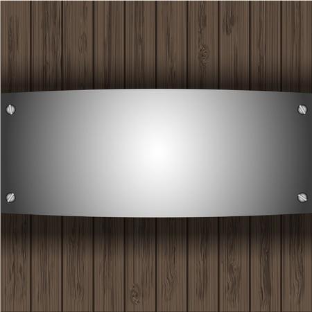 aluminio: vector de la placa de acero en los tablones de madera para el dise�o de su