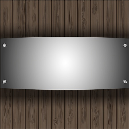 vector steel plate on wooden boards for your design Vector
