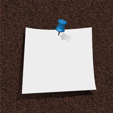note paper with pin on cork board. vector illustration. Best choice Vector