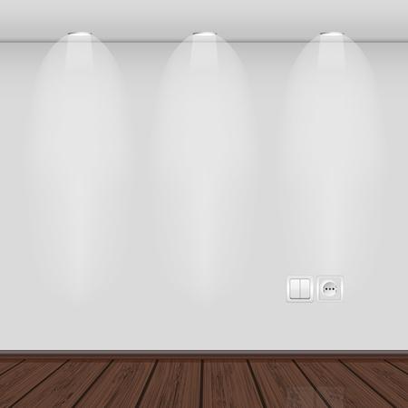 осветительное оборудование: Интерьер с пустой стене и parquet.vector иллюстрации. Лучший выбор Иллюстрация