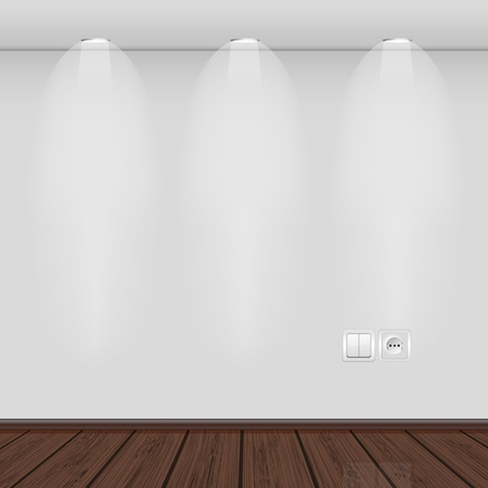 interior lighting: interior with empty wall and parquet.vector illustration. Best choice Illustration