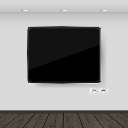 interior. wall with tv and parquet. vector illustration. Best choice Vector