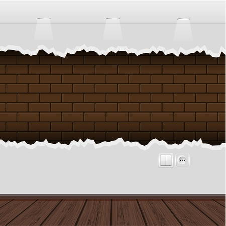 roztrhaný: Vector interiér s drsným stěny a dřevěné podlahy Ilustrace