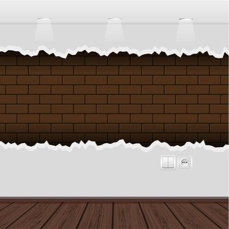 gaten: Vector interieur met een rafelige muur en houten vloer Stock Illustratie