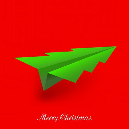 concept of the Christmas tree and origami airplane. Vector illustration Vector
