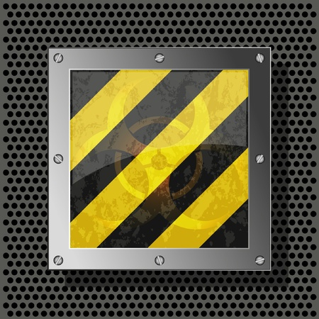 biohazard symbol on metal plate for your design. Vector illustration Vector