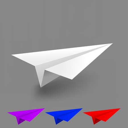 Vector origami airplane set Vector