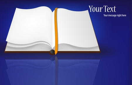 guidebook: Vector open book on blue for your design. Best choice
