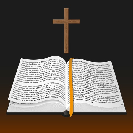 holy book: vector bible with cross Illustration