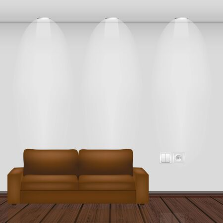 interior lighting: interior. wall and parquet with sofa. vector illustration.
