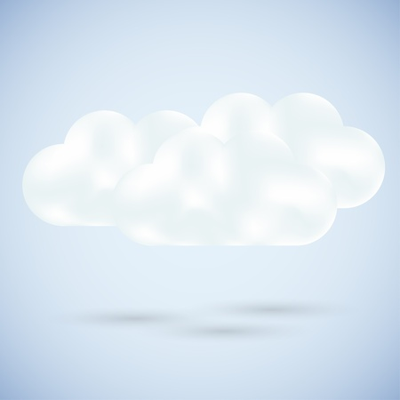 small business computer: Vector clouds on blue. best choice