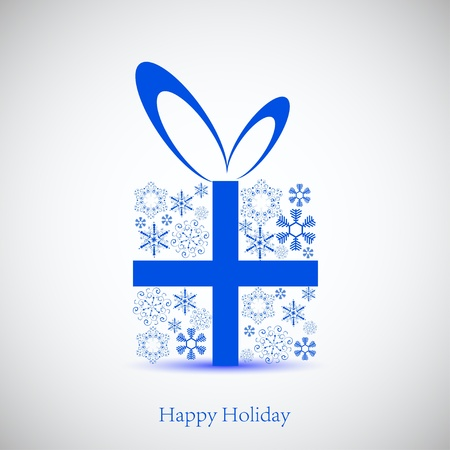 blue gift box: snowflakes gift for your holiday. Vector background. Best choice