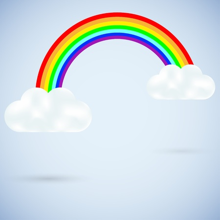 vector clouds with a rainbow on blue. Best choice Vector