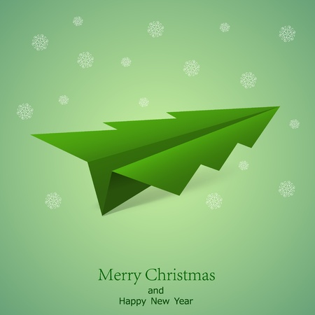 Concept of the Christmas tree and origami airplane. Vector illustration background. Best choice Vector