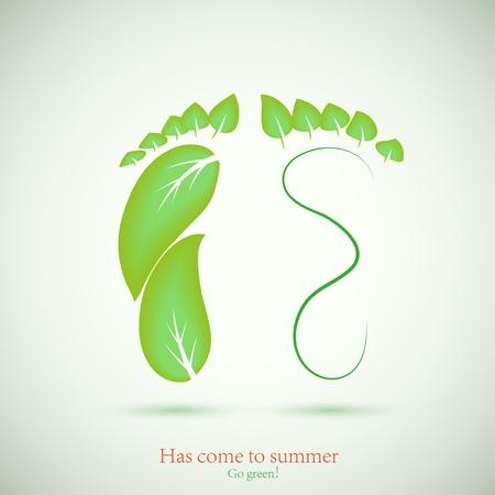 invernadero: concepto de huella y de la hoja verde. Ilustraci�n del vector. La mejor opci�n Vectores