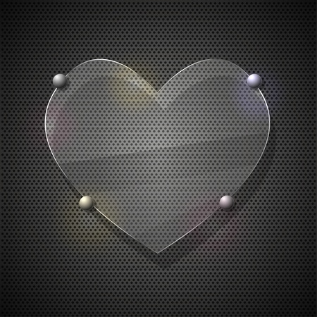 metal grid: Glass heart on metal grid. Vector illustration Illustration
