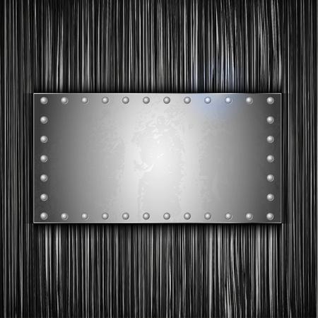 lamiera metallica: lamiera di acciaio con posto per il testo. Vector metallo sfondo