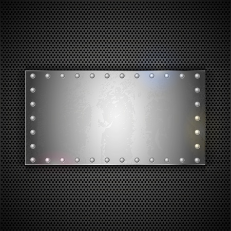 machinery: steel plate with place for your text. Vector metal background