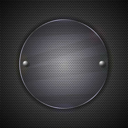 circle glass on metal background. Vector illustration Vector