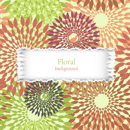 torn floral background with place for your text. Vector illustration Vector