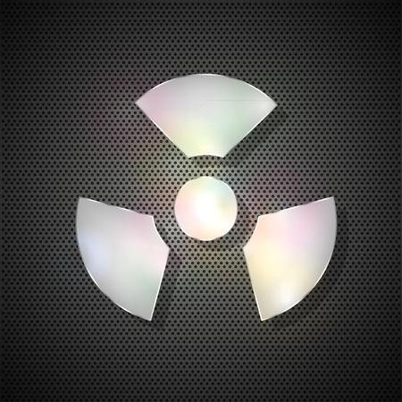 radiation symbol on metal background Vector