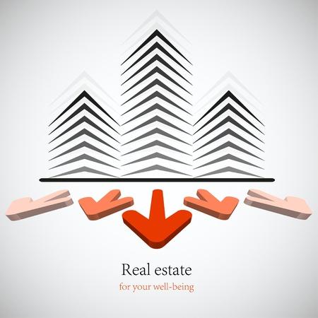 Concept immobilier réel pour votre entreprise. Vecteur de fond. Le meilleur choix