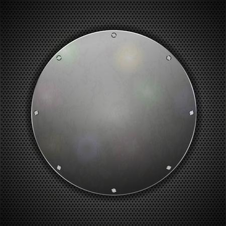 piastra acciaio: cerchio in lamiera di acciaio su sfondo metallo. Vector illustration