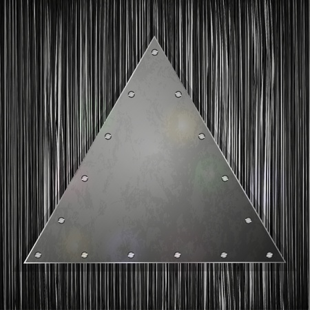 triangular plate on grunge background for your design. Vector illustration Vector