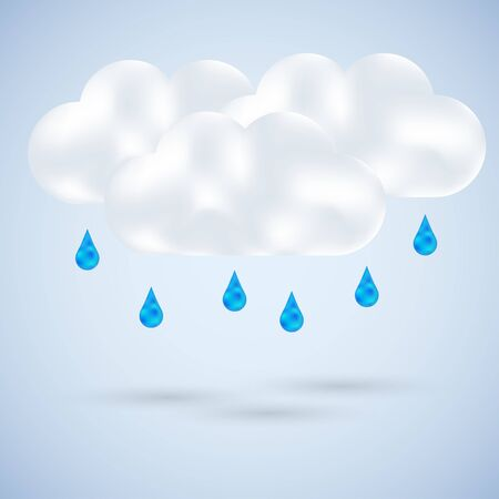 cloud with rain on blue. Vector illustration Vector