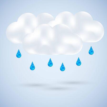 cloud with rain on blue. Vector illustration Stock Vector - 11990013