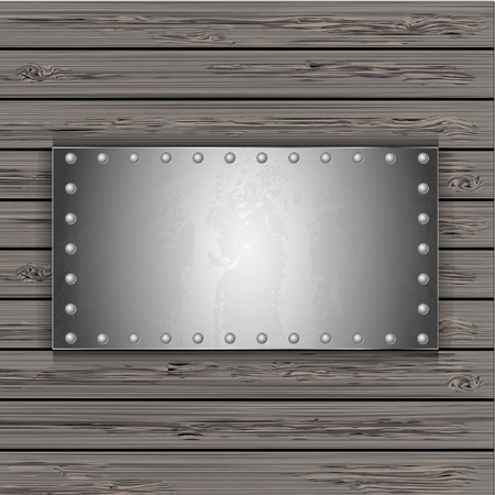metal plate on wooden boards. vector illustration Vector