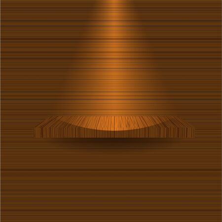 wooden shelf on wooden wall. Vector illustration Vector