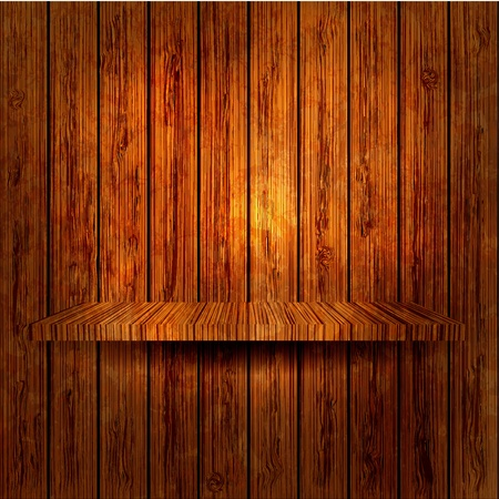 �tag�re bois: �tag�re en bois sur le mur en bois. Vector illustration. Eps 10