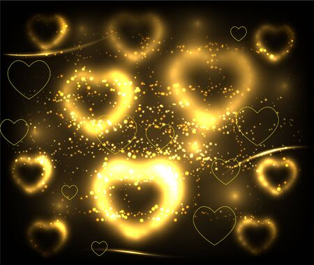 Golden hearts background. Vector illustration Vector