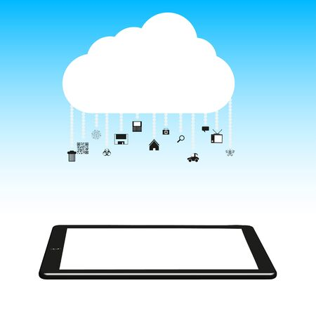 illustration. Concept cloud with computer tablet. Stock Vector - 12231664