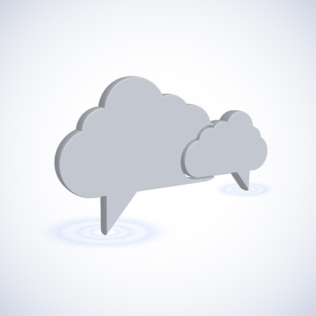 thinking icon: concept computer cloud with bubble speech. 3d illustration