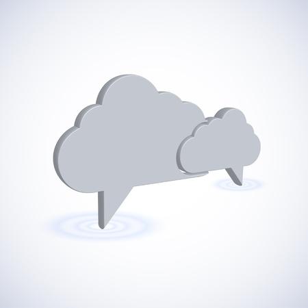 new thinking: concetto di nuvola computer con fumetto. Illustrazione 3D