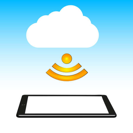 Concept cloud with computer tablet. illustration. Stock Vector - 12231681