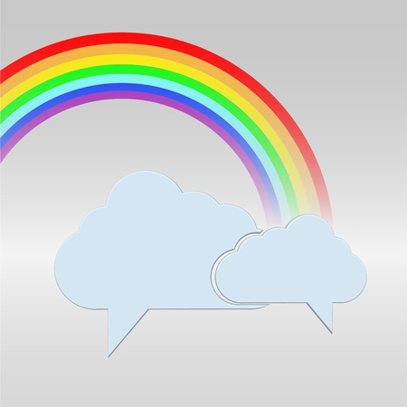 clouds bubble speech with a rainbow  Stock Vector - 12231685