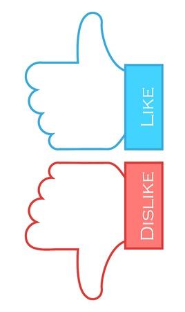 dislike: voorkeur en afkeer symbolen. Vector illustratie Stock Illustratie