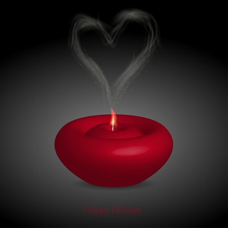 candle with smoke in the form of heart. illustration Vector